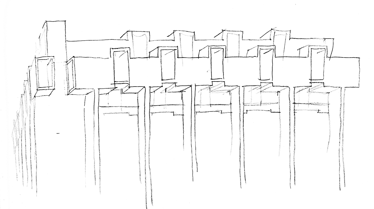 Art and Architecture Building, Yale University, New Haven, Connecticut. Study Sketch of Early Scheme.