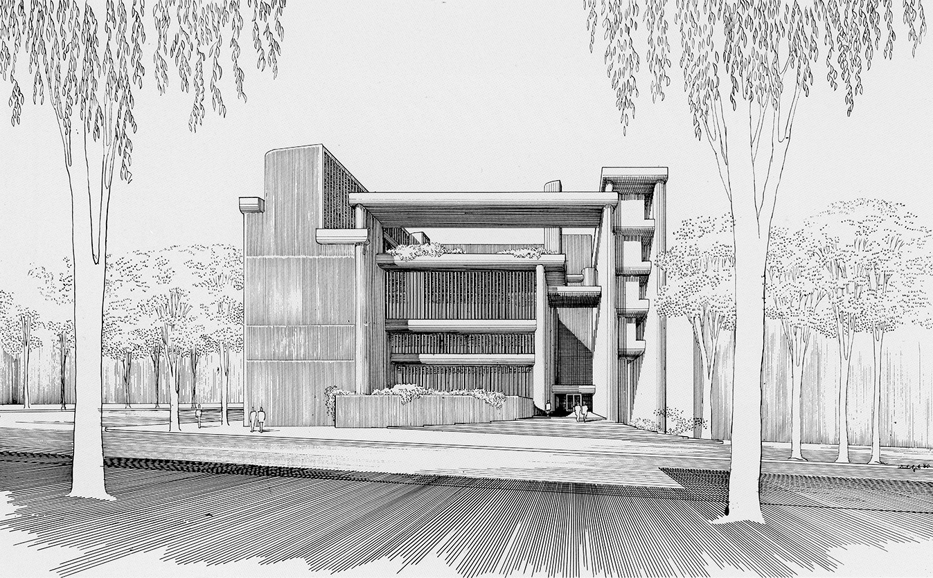 Art and Architecture Building, Yale University, New Haven, Connecticut. Perspective Rendering of Early Scheme.