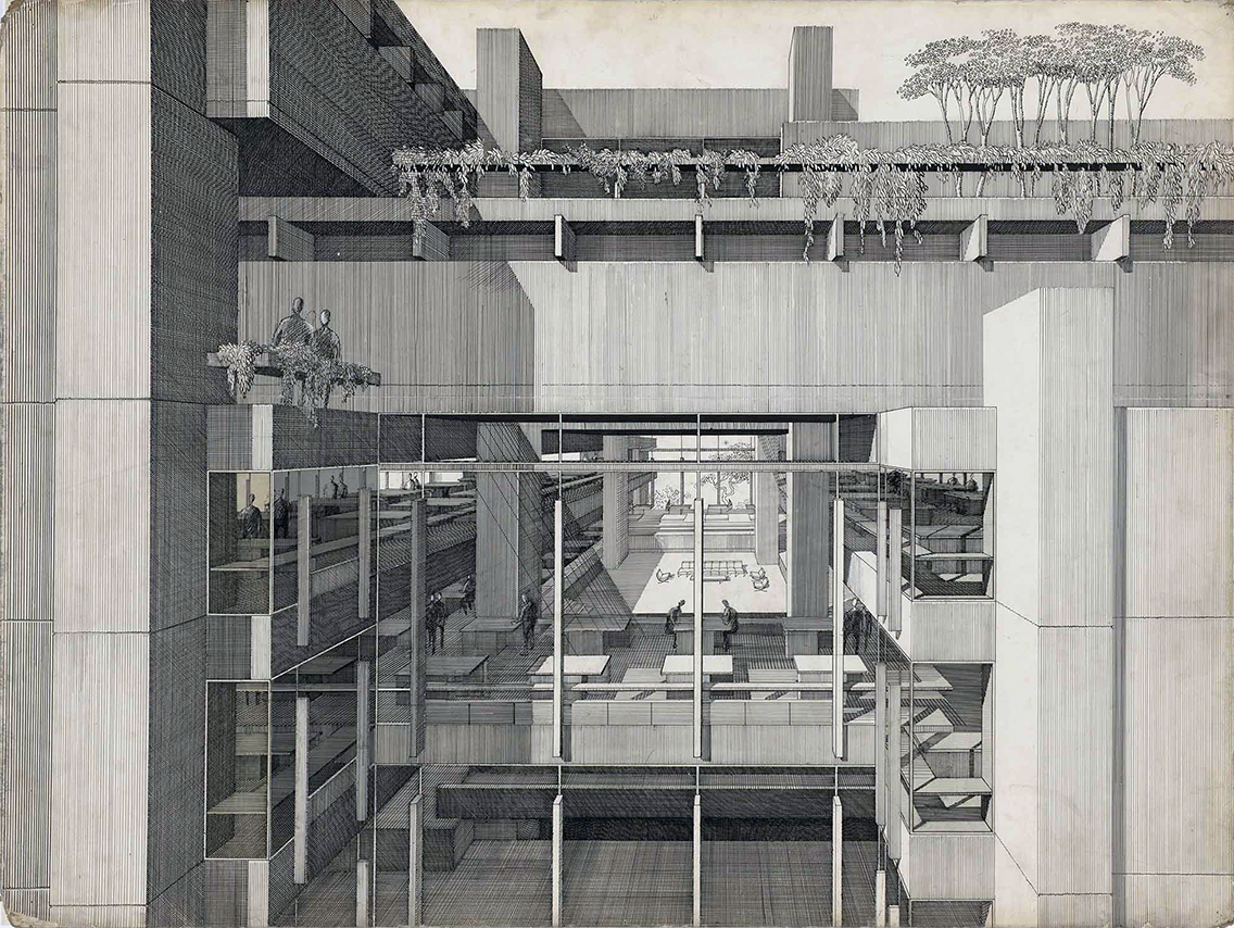 Art and Architecture Building, Yale University, New Haven, Connecticut. Perspective Rendering of Final Scheme.