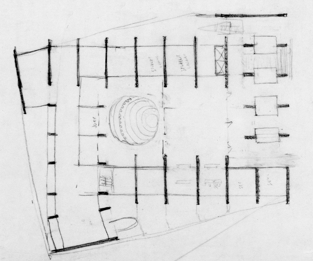Art and Architecture Building, Yale University, New Haven, Connecticut. Sketch Floor Plan of Early Scheme.