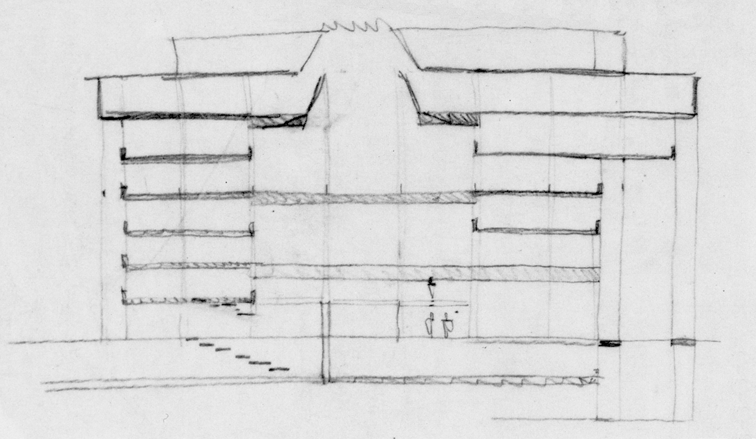 Art and Architecture Building, Yale University, New Haven, Connecticut. Section Sketch of Early Scheme.
