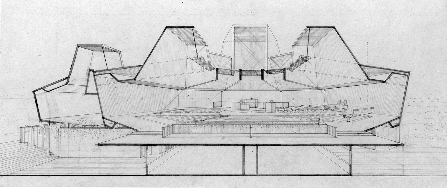 Addition to Beth-El Synagogue, New London, Connecticut.  Section Perspective Rendering.