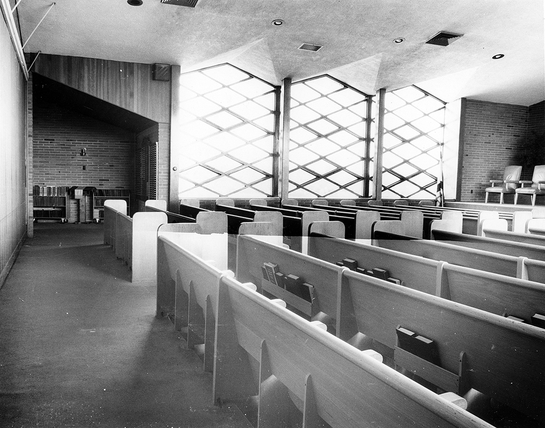 Addition to Beth-El Synagogue, New London, Connecticut. Photo of Building Interior before construction of the addition.