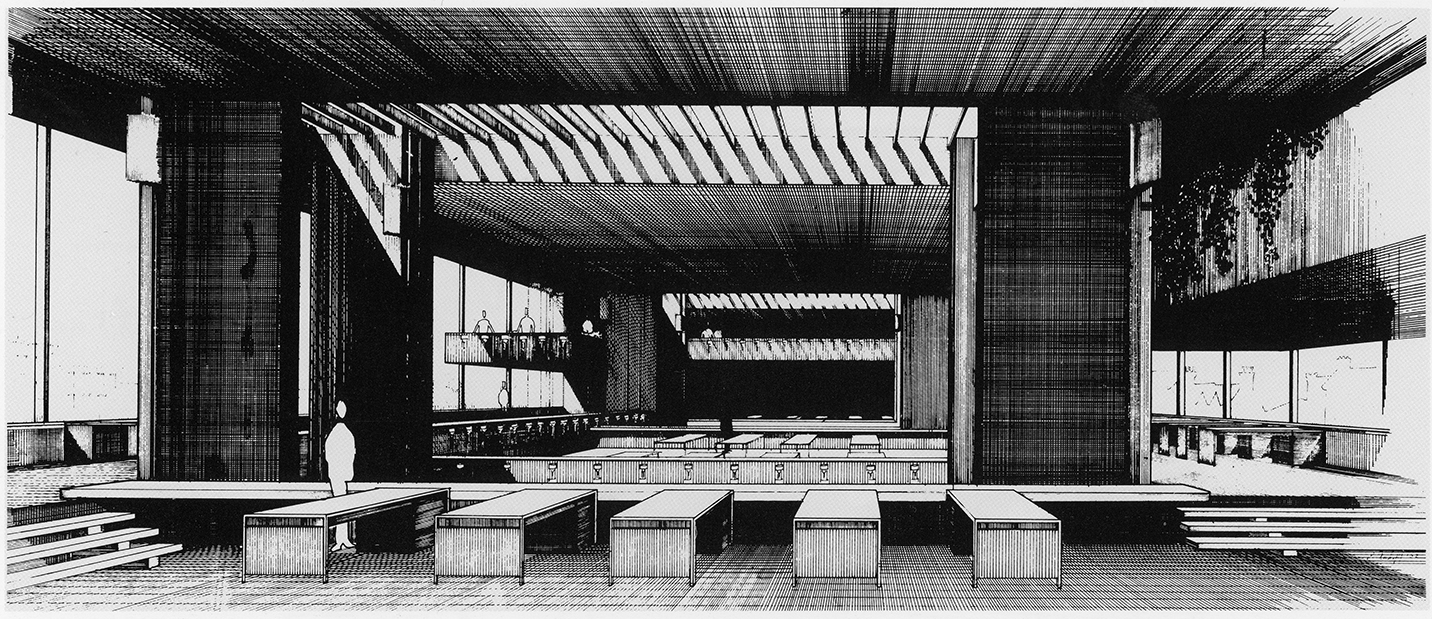 Art and Architecture Building, Yale University, New Haven, Connecticut. Perspective Rendering of Interior of Drafting Room. Dated 1962.