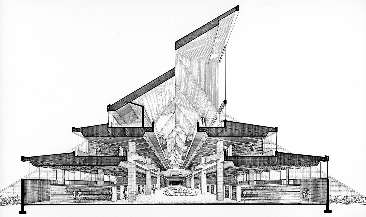 Rudolph's section-perspective of the library, looking down its main axis. A series of tall clerestory windows, rising prominently from the roof, bring in natural light. The building rises in three stages, with each floor getting smaller than the one below—reflecting the library's functional space needs. Image © The Estate of Paul Rudolph, The Paul Rudolph Heritage Foundation.