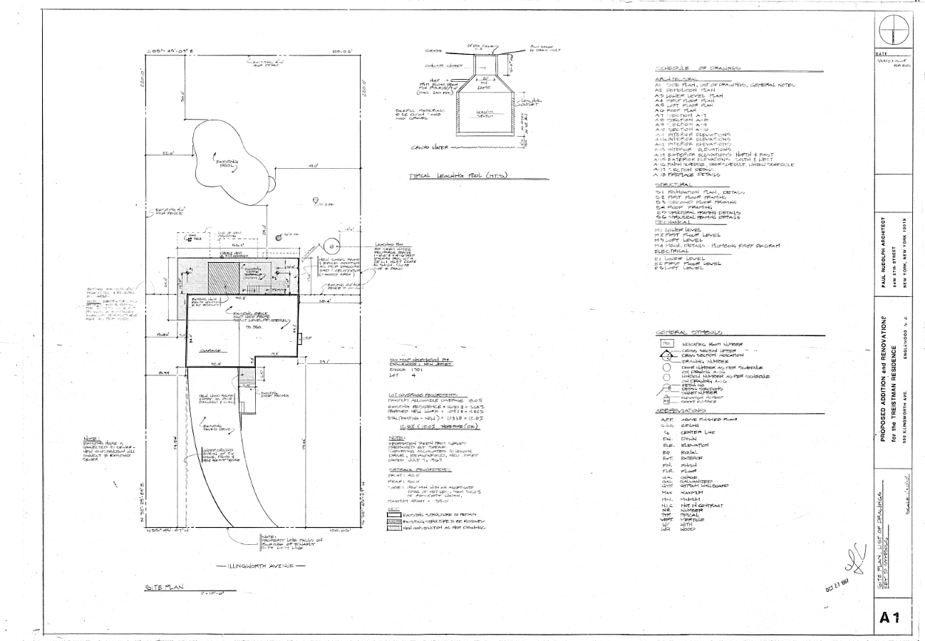 Residence for Mr. and Mrs. Treistman, Englewood, New Jersey. Site Plan, List of Drawings, General Notes, Sheet A1.