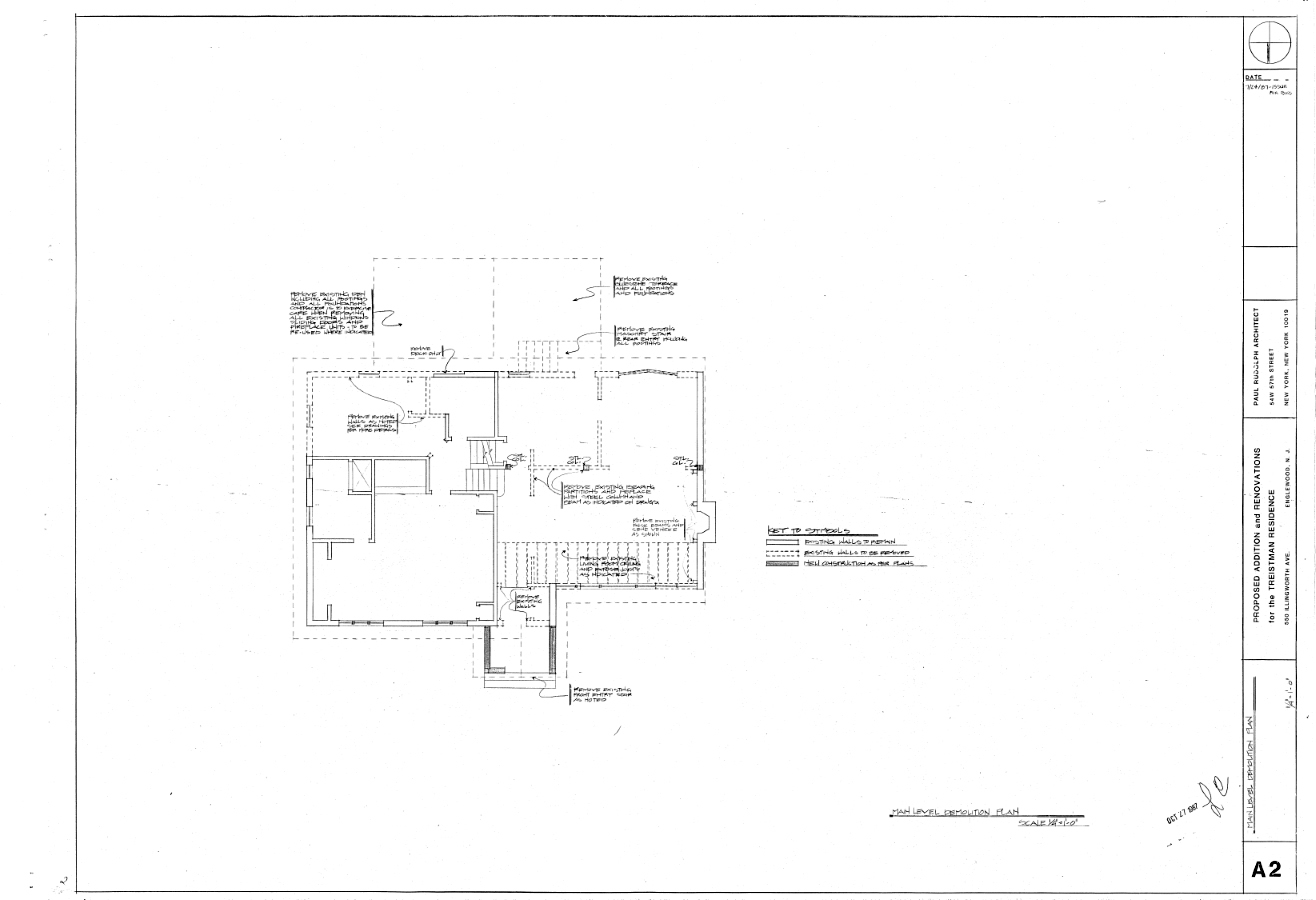 Residence for Mr. and Mrs. Treistman, Englewood, New Jersey. Demolition Plan, Sheet A2