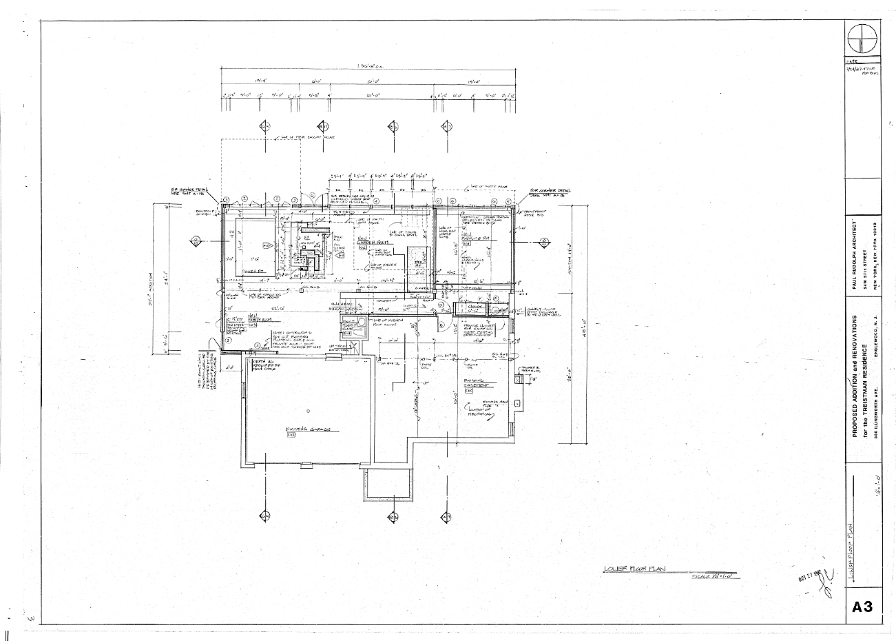 Residence for Mr. and Mrs. Treistman, Englewood, New Jersey. Lower Level Plan, Sheet A3.