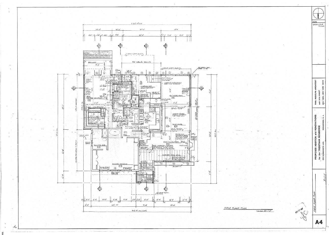 Residence for Mr. and Mrs. Treistman, Englewood, New Jersey. First Floor Plan, Sheet A4.