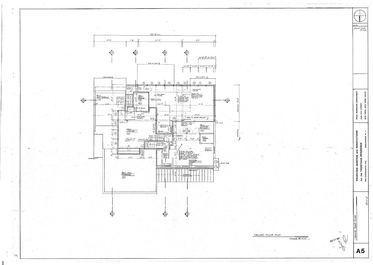 Residence for Mr. and Mrs. Treistman, Englewood, New Jersey. Loft Floor Plan, Sheet A5.