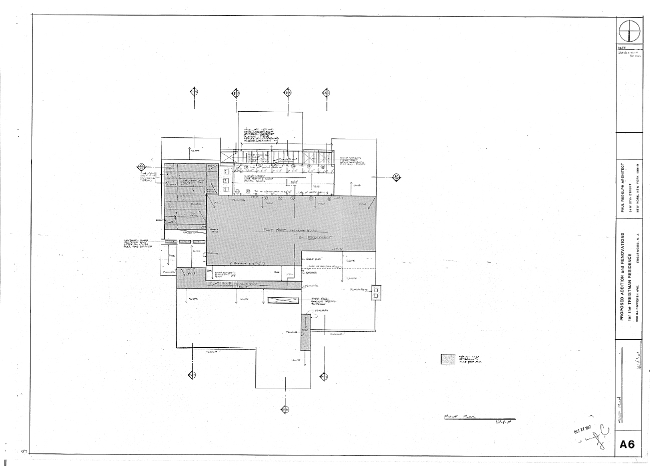 Residence for Mr. and Mrs. Treistman, Englewood, New Jersey.  Roof Plan, Sheet A6.