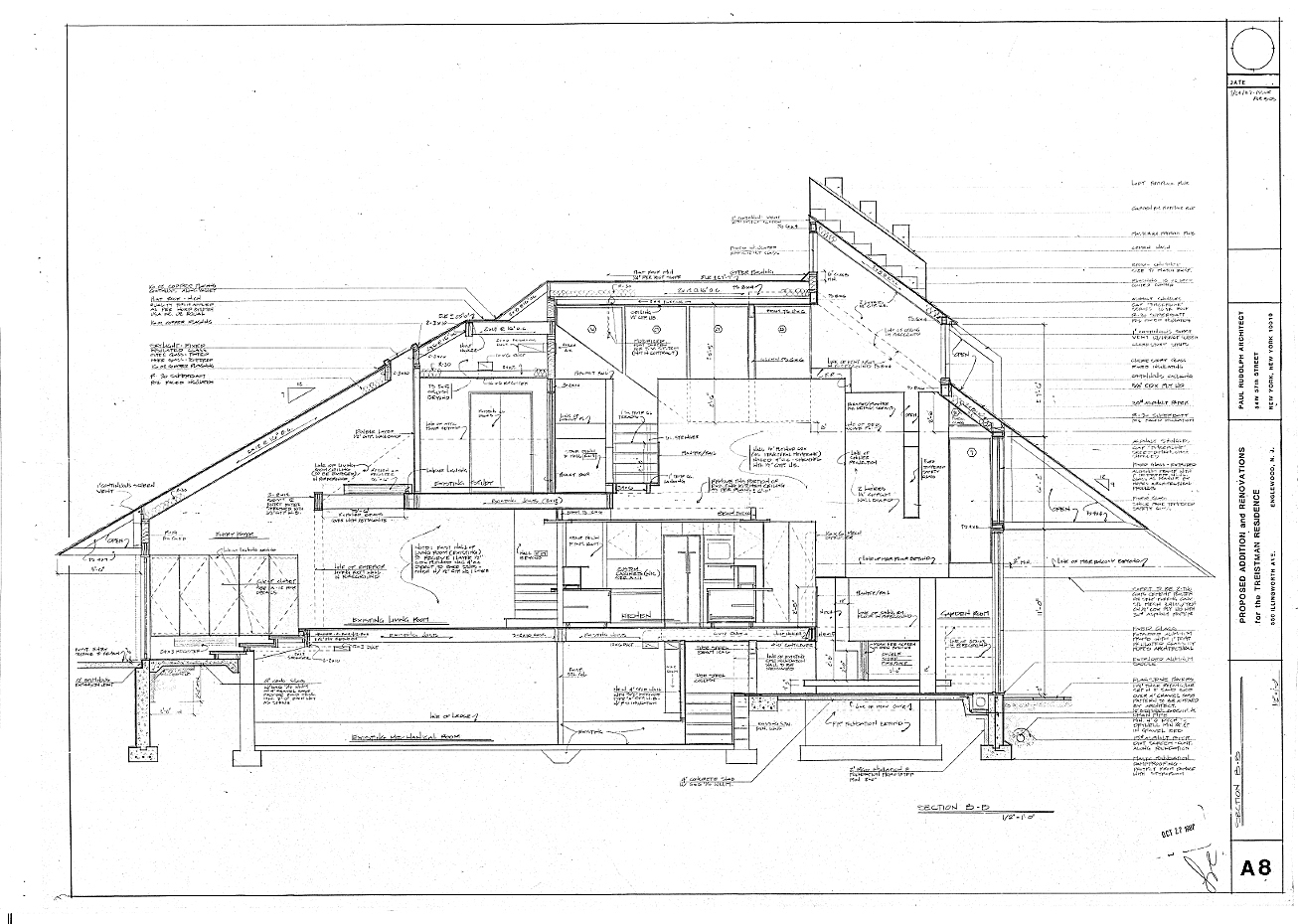 Residence for Mr. and Mrs. Treistman, Englewood, New Jersey. Section A-8, Sheet A8.