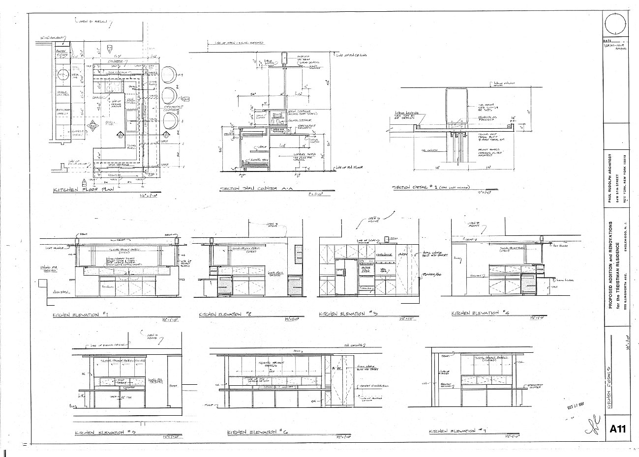 Residence for Mr. and Mrs. Treistman, Englewood, New Jersey.  Interior Elevations, Sheet A11.
