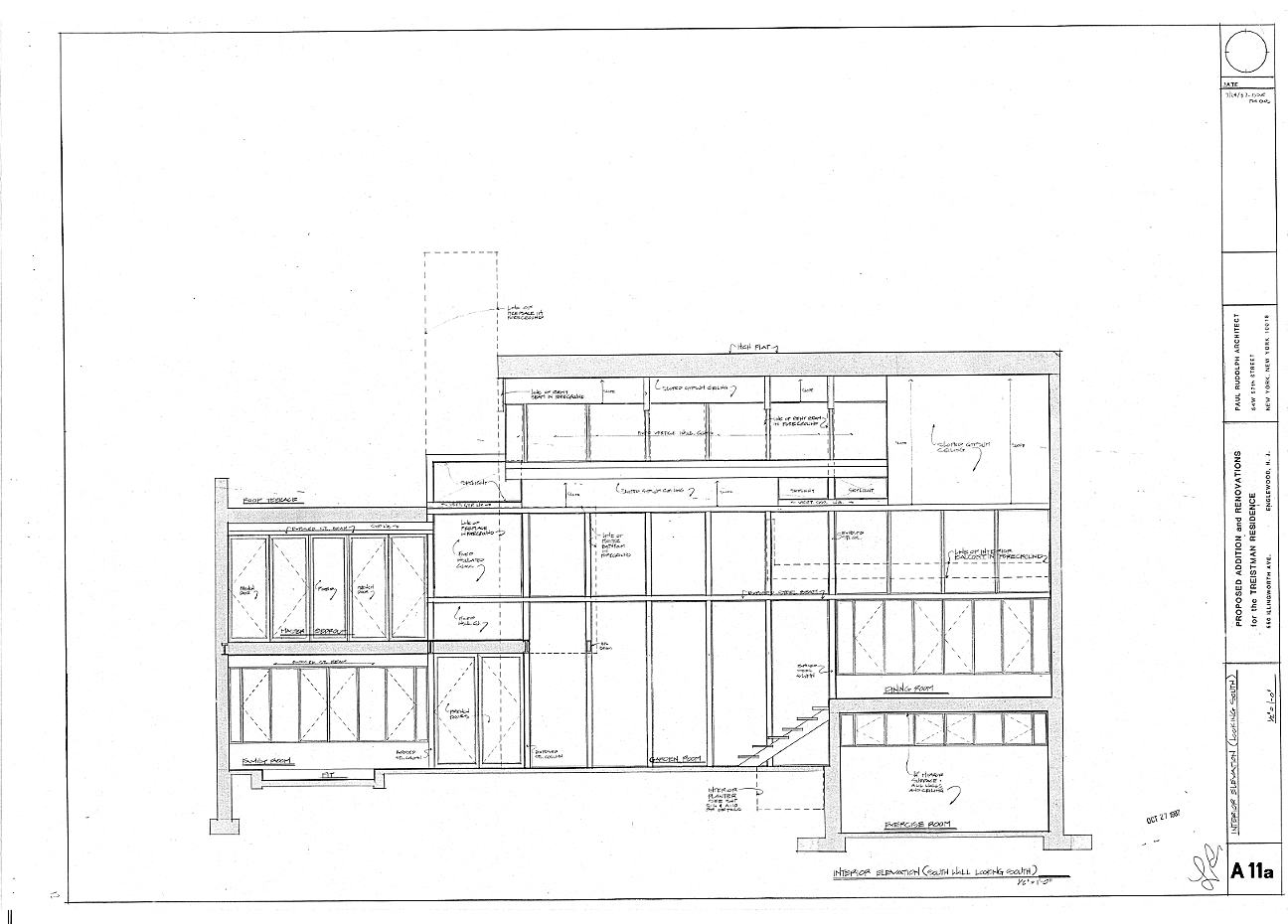 Residence for Mr. and Mrs. Treistman, Englewood, New Jersey.  Interior Elevations, Sheet A11a.