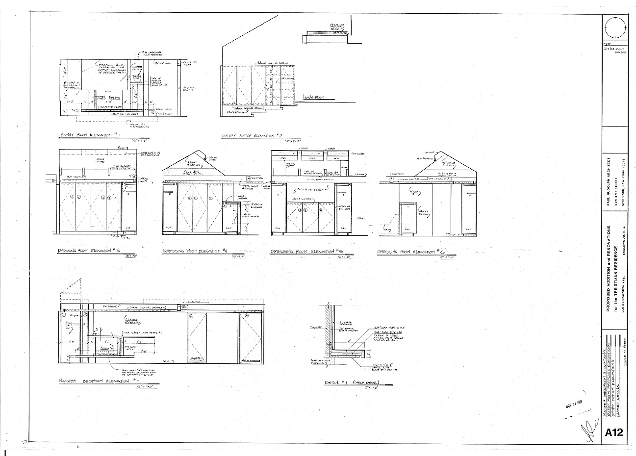 Residence for Mr. and Mrs. Treistman, Englewood, New Jersey.  Interior Elevations, Sheet A12.