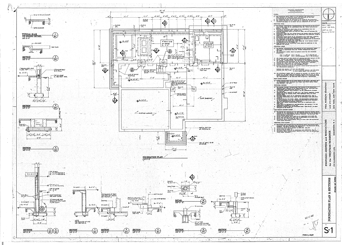 Residence for Mr. and Mrs. Treistman, Englewood, New Jersey.  Foundation Plan, Details, Sheet S1.