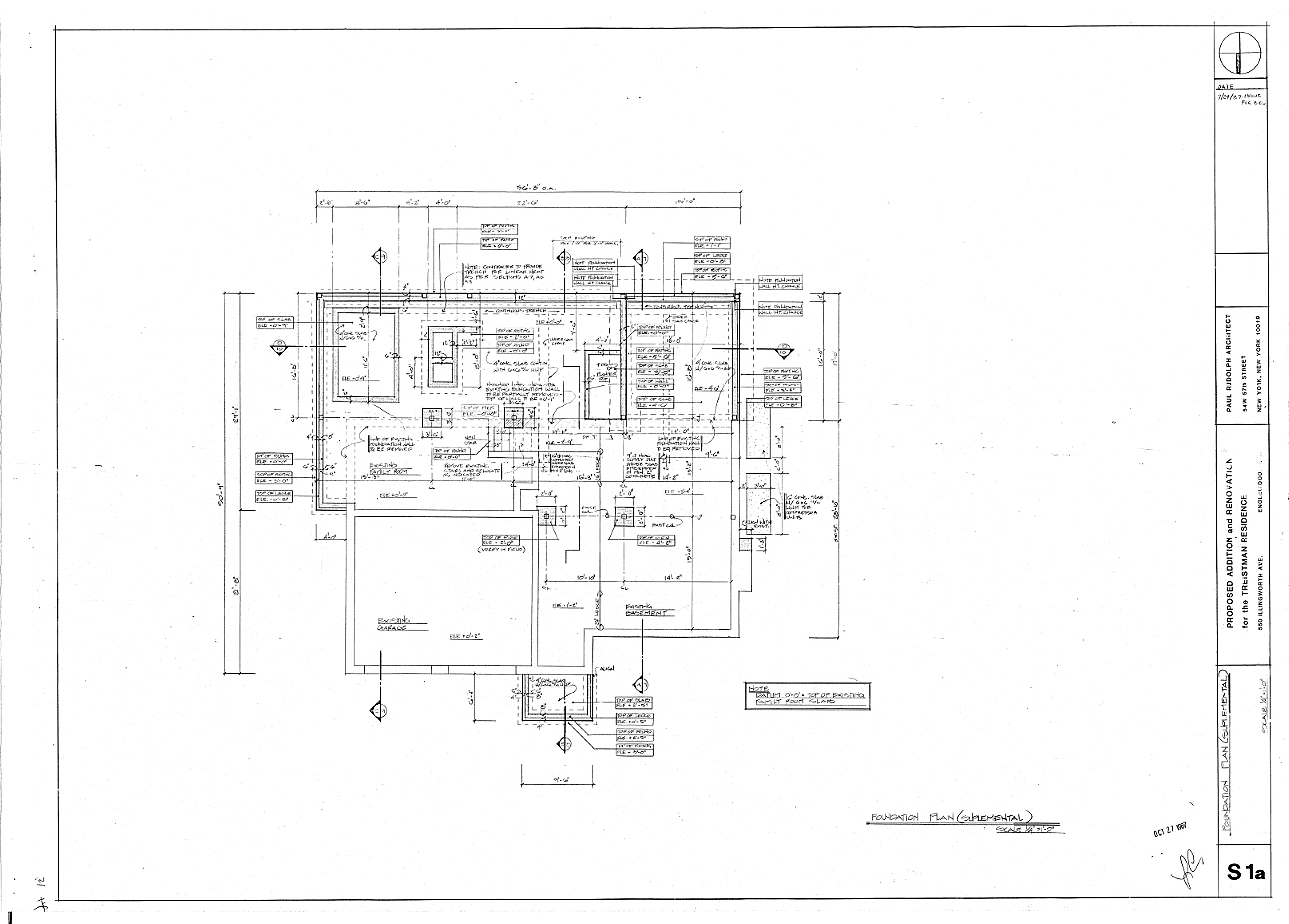 Residence for Mr. and Mrs. Treistman, Englewood, New Jersey.  Foundation Plan (Supplemental), Sheet S1a.