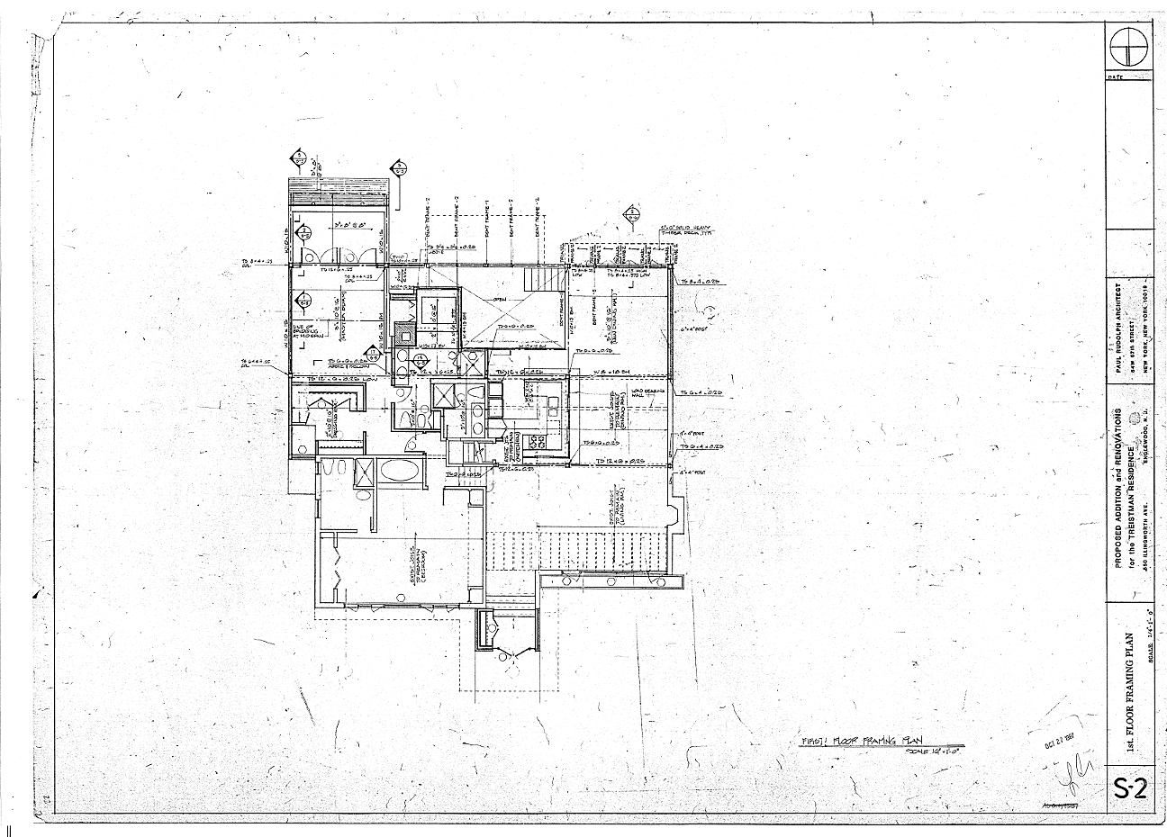 Residence for Mr. and Mrs. Treistman, Englewood, New Jersey. First Floor Framing, Sheet S2.