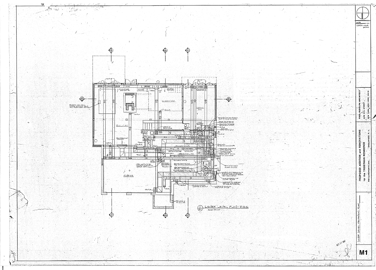 Residence for Mr. and Mrs. Treistman, Englewood, New Jersey.  Lower Level, Sheet M1.