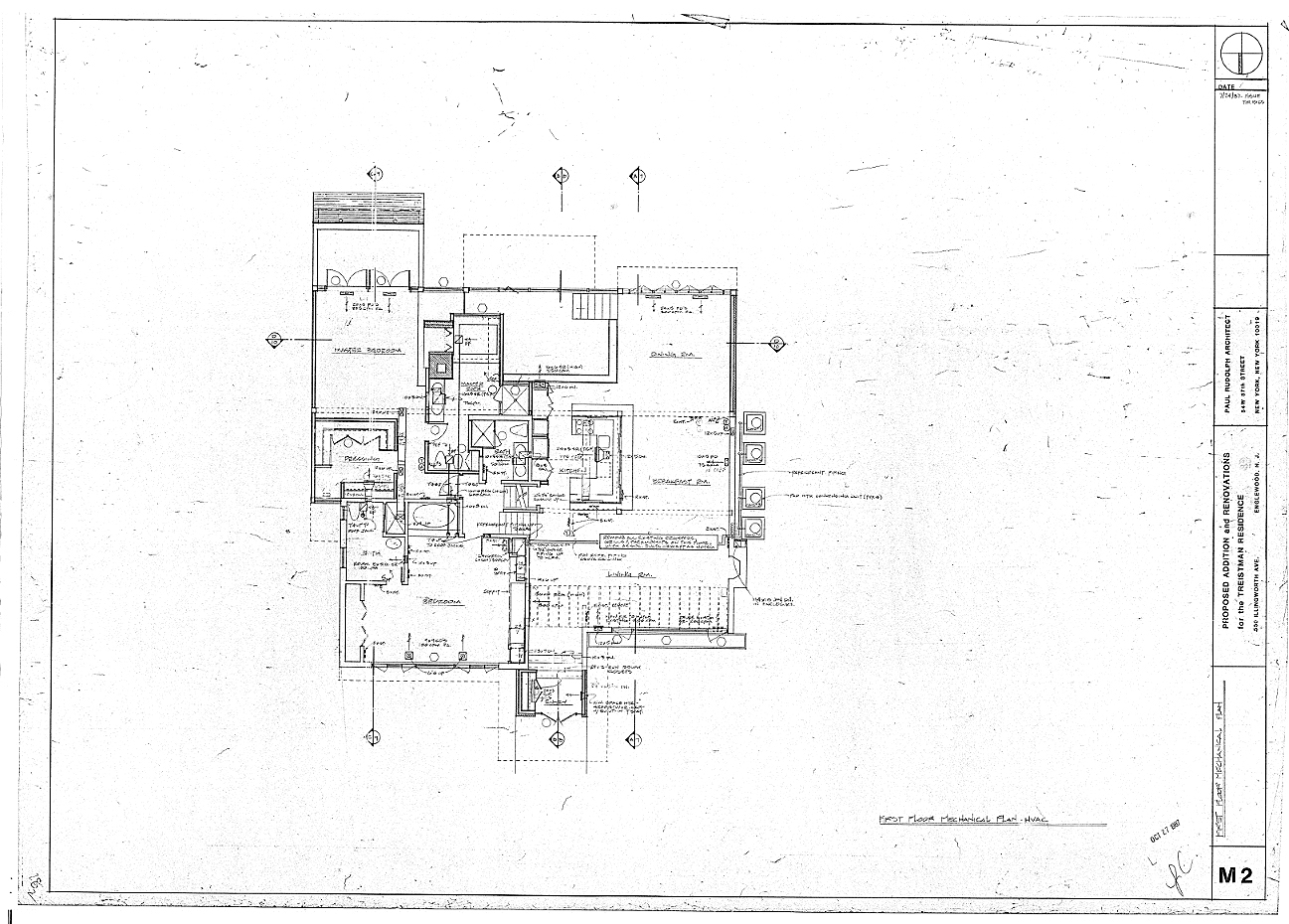 Residence for Mr. and Mrs. Treistman, Englewood, New Jersey.  First Floor Level, Sheet M2.