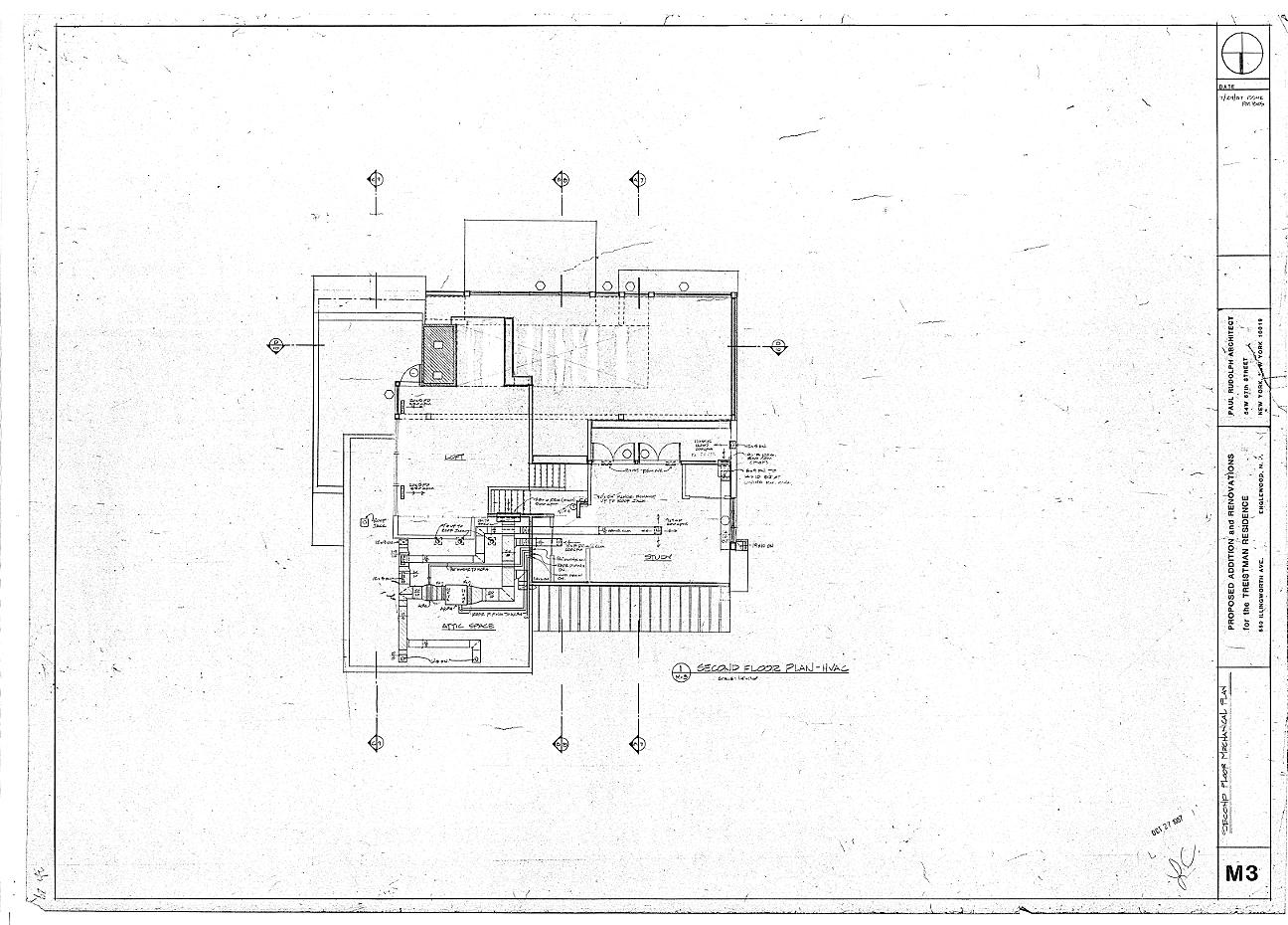 Residence for Mr. and Mrs. Treistman, Englewood, New Jersey.  Loft Level, Sheet M3.