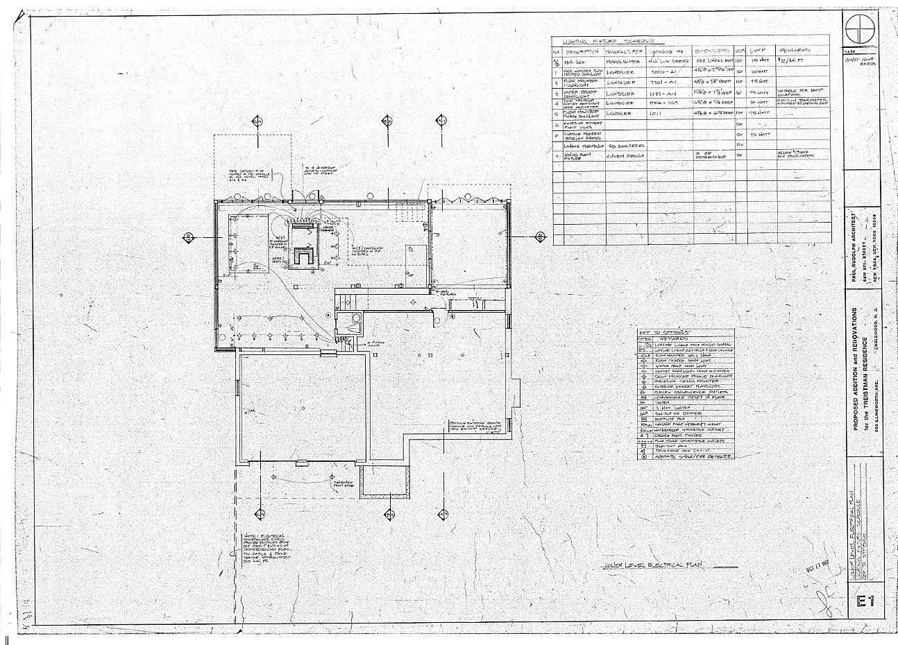 Residence for Mr. and Mrs. Treistman, Englewood, New Jersey.  Lower Level, Sheet E1.