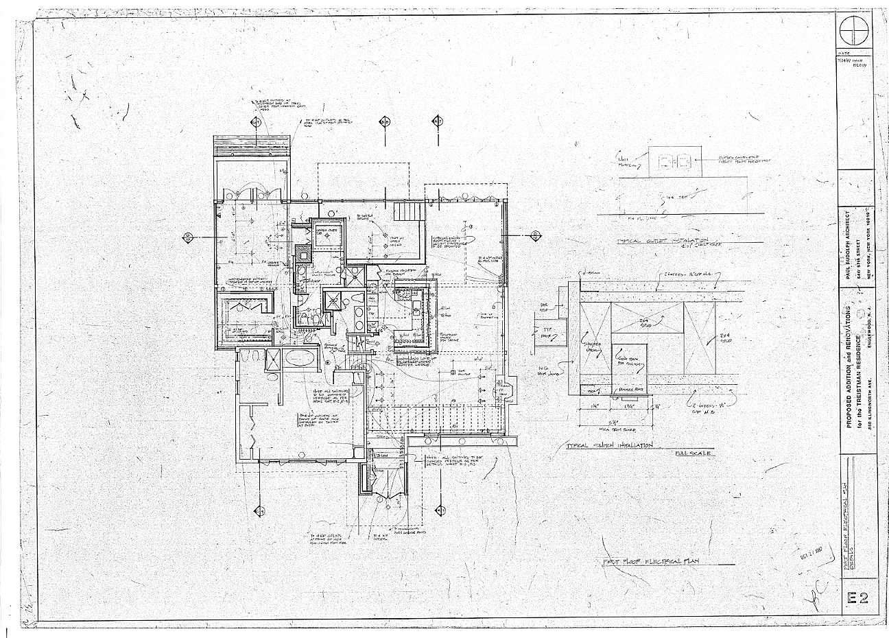 Residence for Mr. and Mrs. Treistman, Englewood, New Jersey.  First Floor Level, Sheet E2.