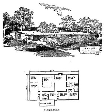 "The ""Kincade"" is the name of a mid-1950's house design by Paul Rudolph. It was published as a ""Home-of-the-Month""—apparently part of a series of home designs available to the public through lumber yards and construction supply companies. This image is from a 1954 article in the Denton Journal."