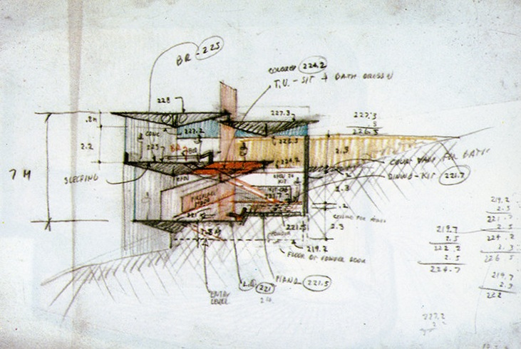 The Pilsbury Residence, a design from 1972. All we've seen—so far—of this project is this intriguing section sketch by Rudolph. It was published in a Japanese architecture magazine (in an issue entirely devoted to Rudolph's work), and was designed for Cannes, France. It is one of Rudolph's few works for Europe—N.B the dimensions seem to be in metric. The project's name and proposed location is all that we know about it—so far. We're hoping future research will reveal more. Image © The Estate of Paul Rudolph, The Paul Rudolph Heritage Foundation.