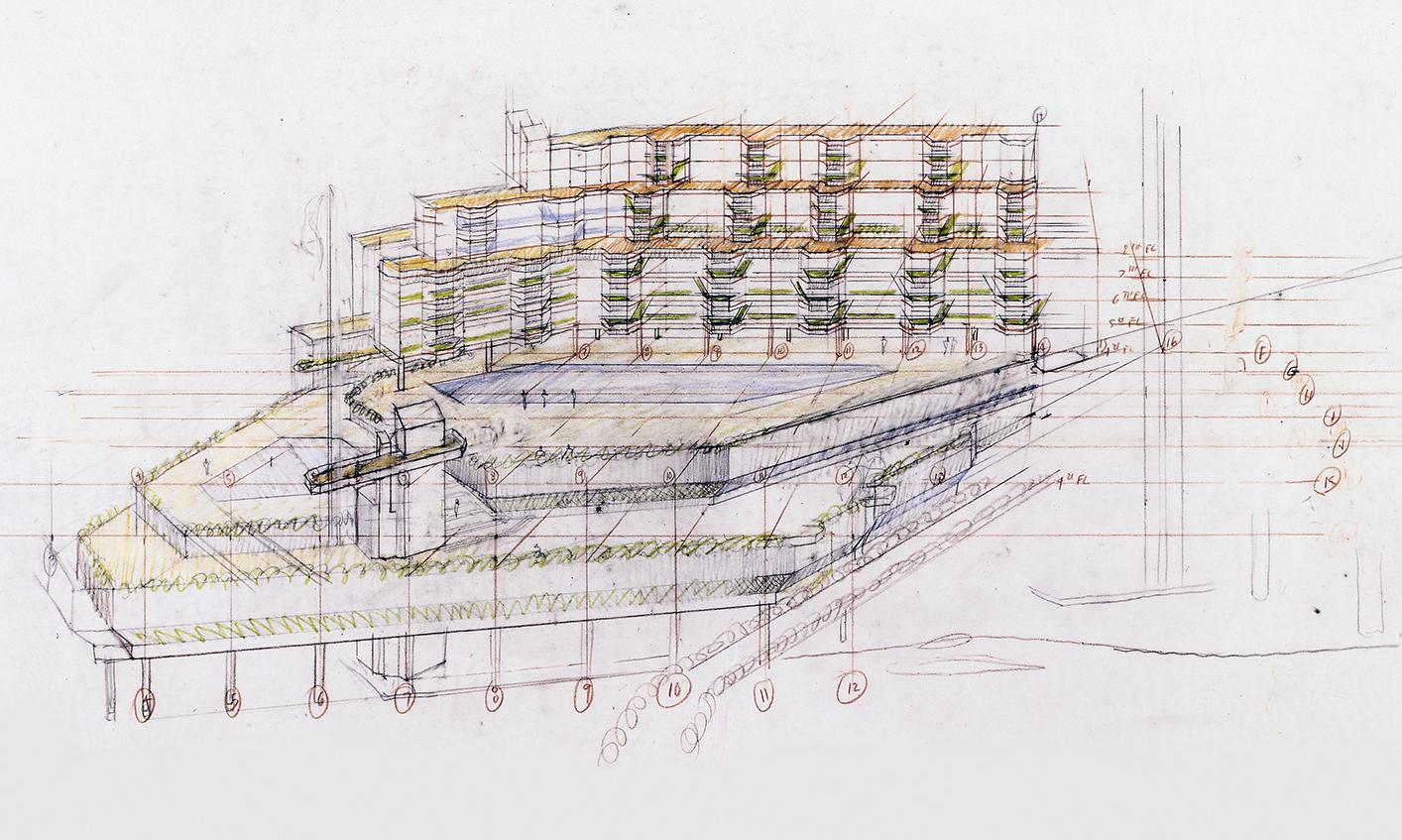 The Concourse, Beach Road, Singapore. Final Scheme. Bird's-eye Perspective Sketch of Podium.