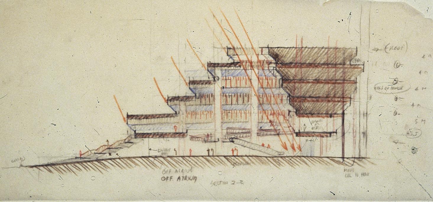 The Concourse, Beach Road, Singapore. Final Scheme. Section Sketch through Podium.