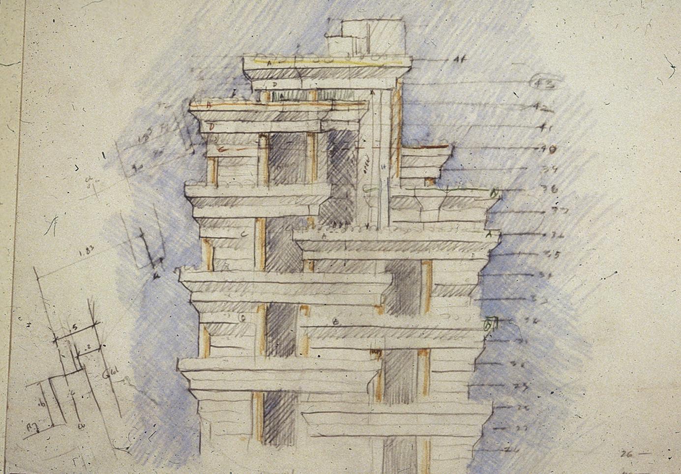 The Concourse, Beach Road, Singapore. Final Scheme. Sketch of Tower Facade.