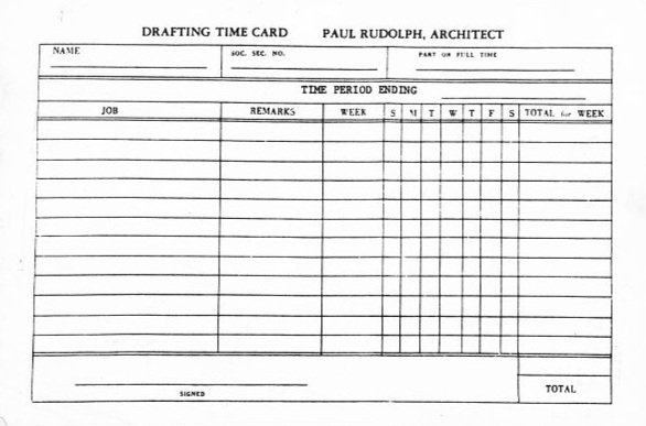 A blank time card from from Paul Rudolph's office—a fairly standard example of the type of record-keeping that would be used in architects offices in the US. Staff would fill these out to show how much time they'd devoted to each project, and submit them weekly. The resulting info would be used for billing. Image © The Estate of Paul Rudolph, The Paul Rudolph Heritage Foundation.