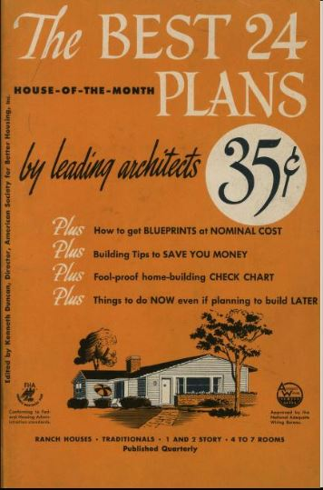 "An example of a House-of-the-Month book: a collection, in booklet form, of available architectural designs for houses.""by leading architects."" A quarterly publication of the Monthly Small House Club, Inc,, this one is from 1951 (a few years before Rudolph's ""Kincaid"" house came out.)"