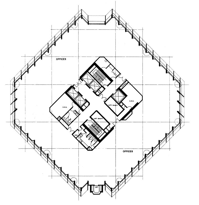 The Concourse, Beach Road, Singapore. Second Scheme. Office Level Floor Plan.