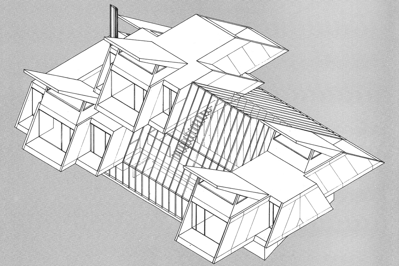 Green residence, Cherry Ridge, Pennsylvania. Axonometric.