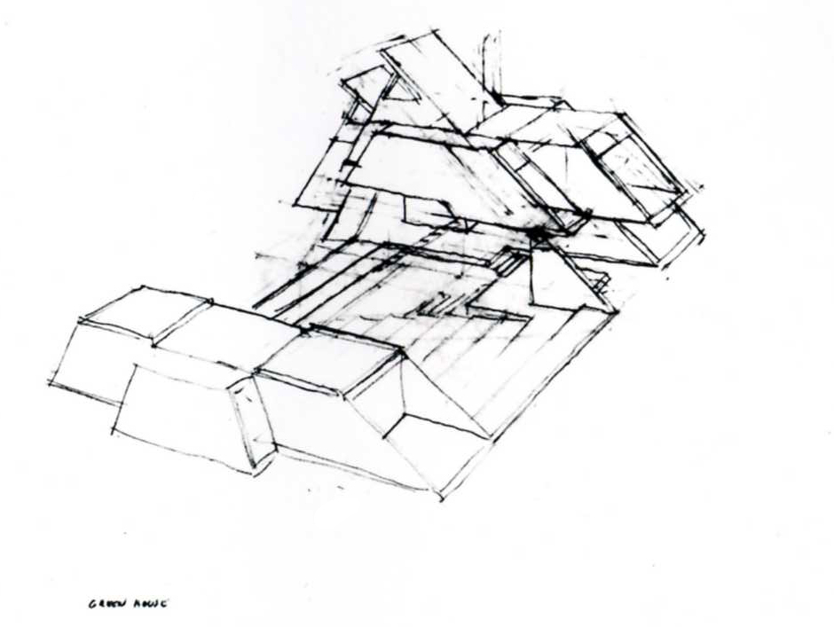 Green residence, Cherry Ridge, Pennsylvania. Bird's-eye Exterior Perspective Sketch.