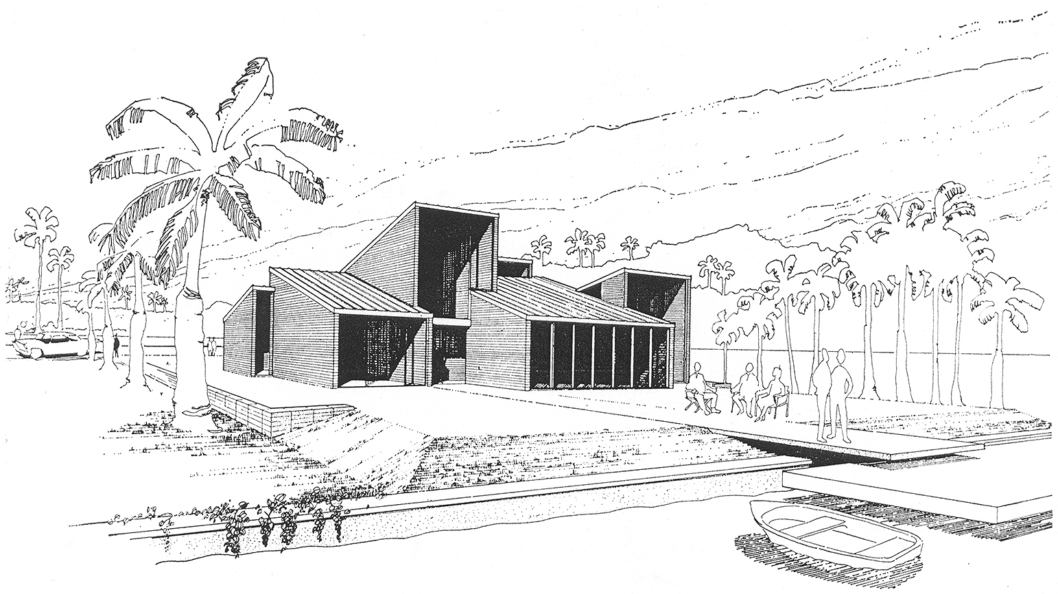 Daisley residence, Ocean Ridge (Inlet Cay), Florida. Perspective Rendering of Building Exterior by Bryant L. Conant.