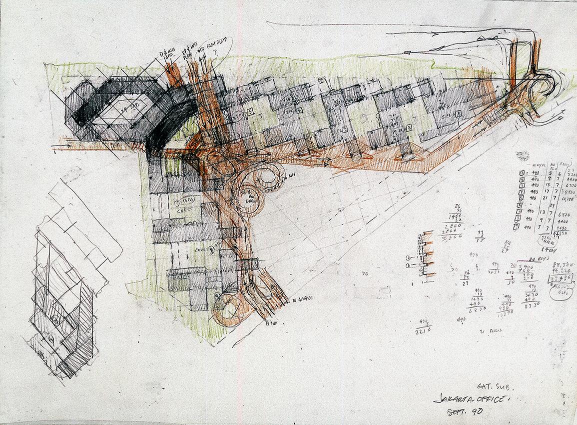 Gatot Subroto office condominiums, Jakarta, Indonesia. Floor Plan Study.