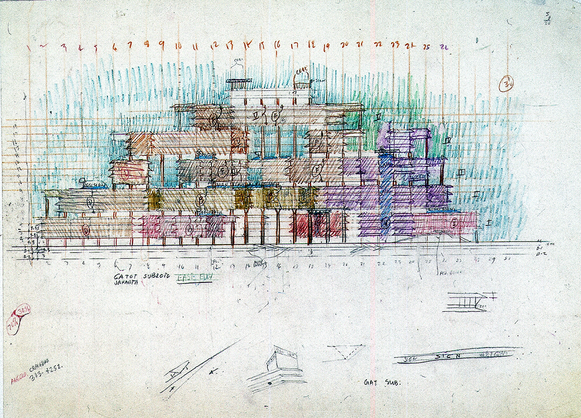 Gatot Subroto office condominiums, Jakarta, Indonesia. Elevation Sketch.