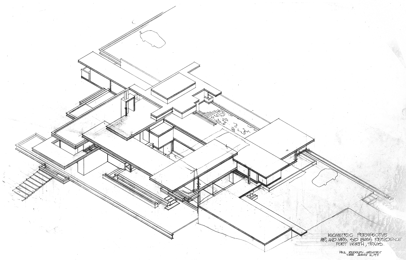 Residence for Mr. and Mrs. Sid R. Bass, Fort Worth, Texas. Bird's-eye Axonometric. Drawing dated August 16, 1971.