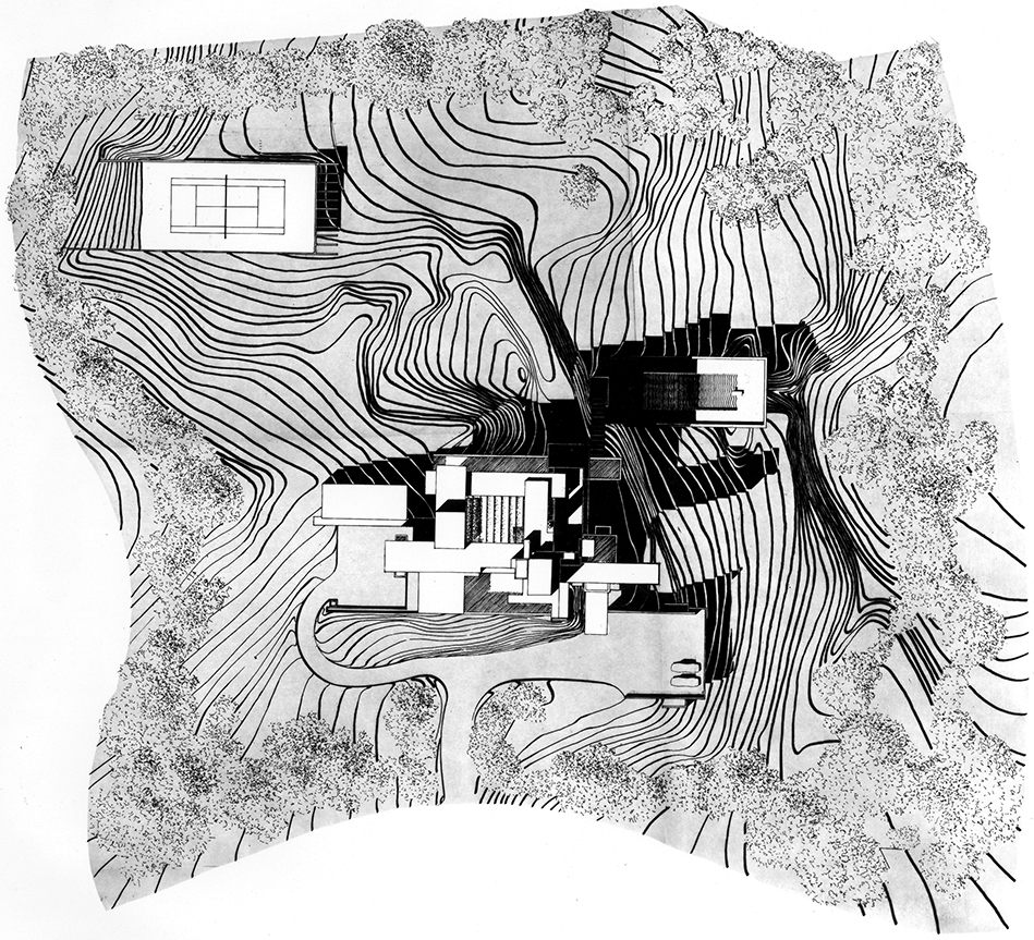 Residence for Mr. and Mrs. Sid R. Bass, Fort Worth, Texas. Site Plan Rendering.
