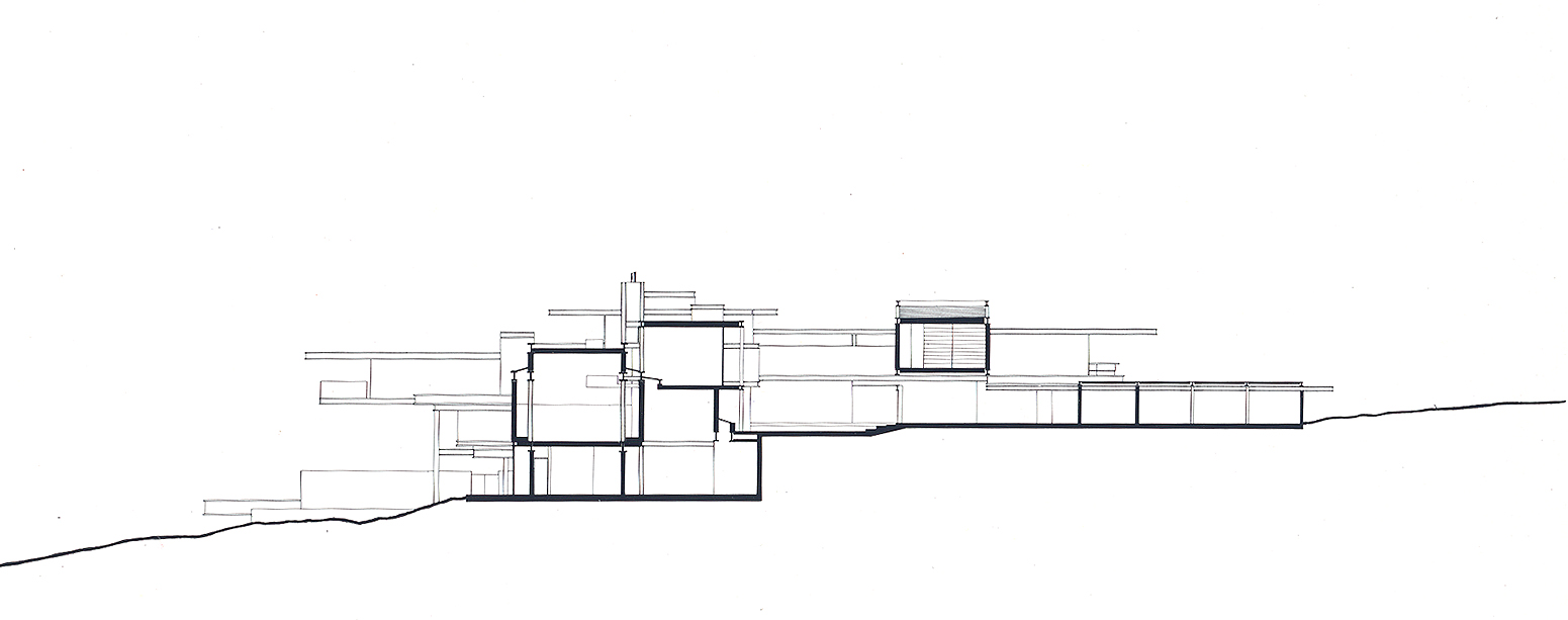 Residence for Mr. and Mrs. Sid R. Bass, Fort Worth, Texas. Building Section Presentation Drawing.