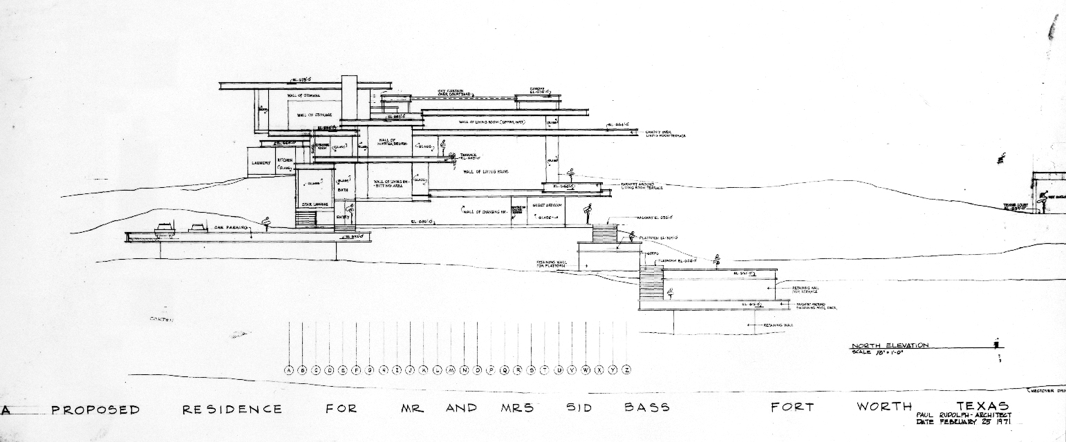Residence for Mr. and Mrs. Sid R. Bass, Fort Worth, Texas. Elevation. Drawing dated February 25, 1971.