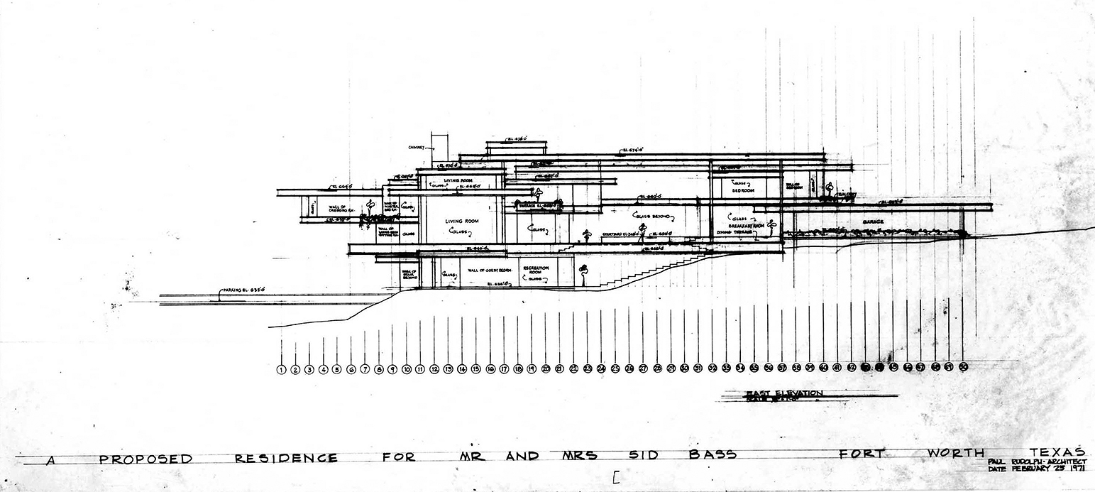 Residence for Mr. and Mrs. Sid R. Bass, Fort Worth, Texas. Building Section Drawing dated February 25, 1971.