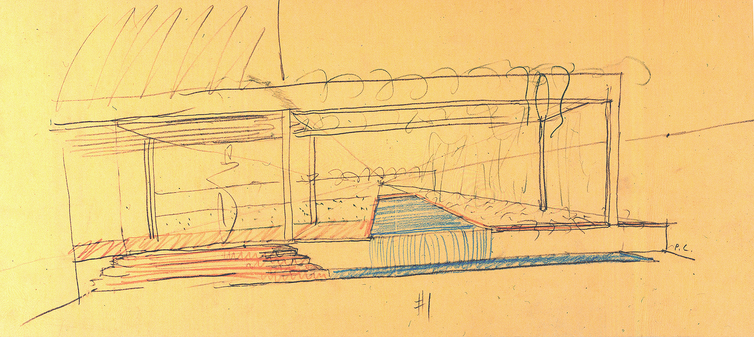 Residence for Mr. and Mrs. Sid R. Bass, Fort Worth, Texas. Exterior Perspective Sketch.