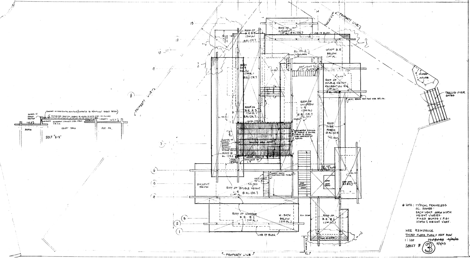 Wee Ee Chao Residence, Singapore. Roof Plan. Drawing dated May 03, 1993.