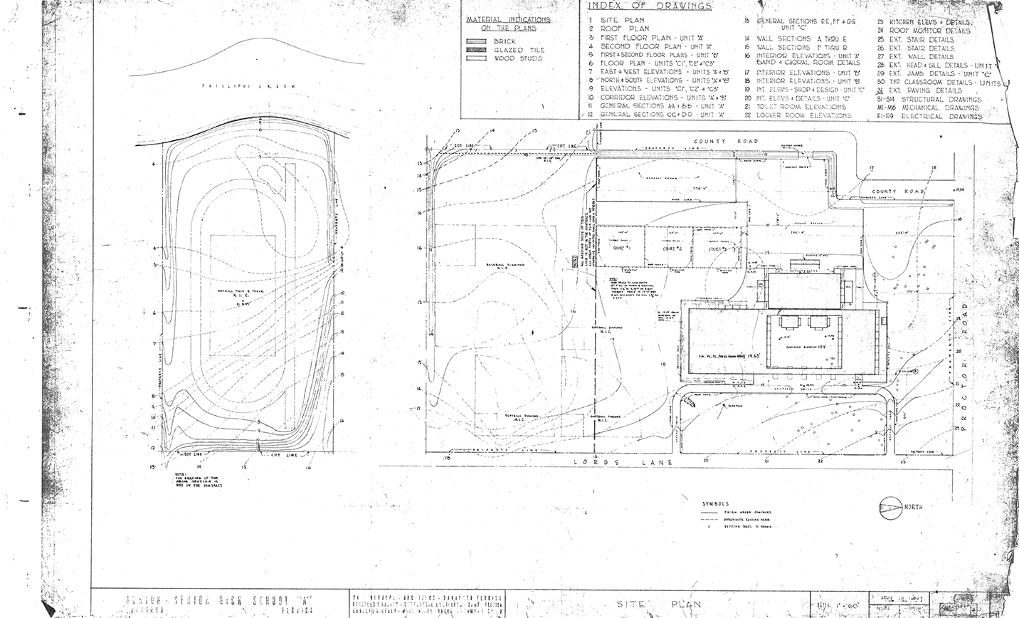 Riverview High School, Sarasota, Florida. Site Plan. Drawing dated September 18, 1957.