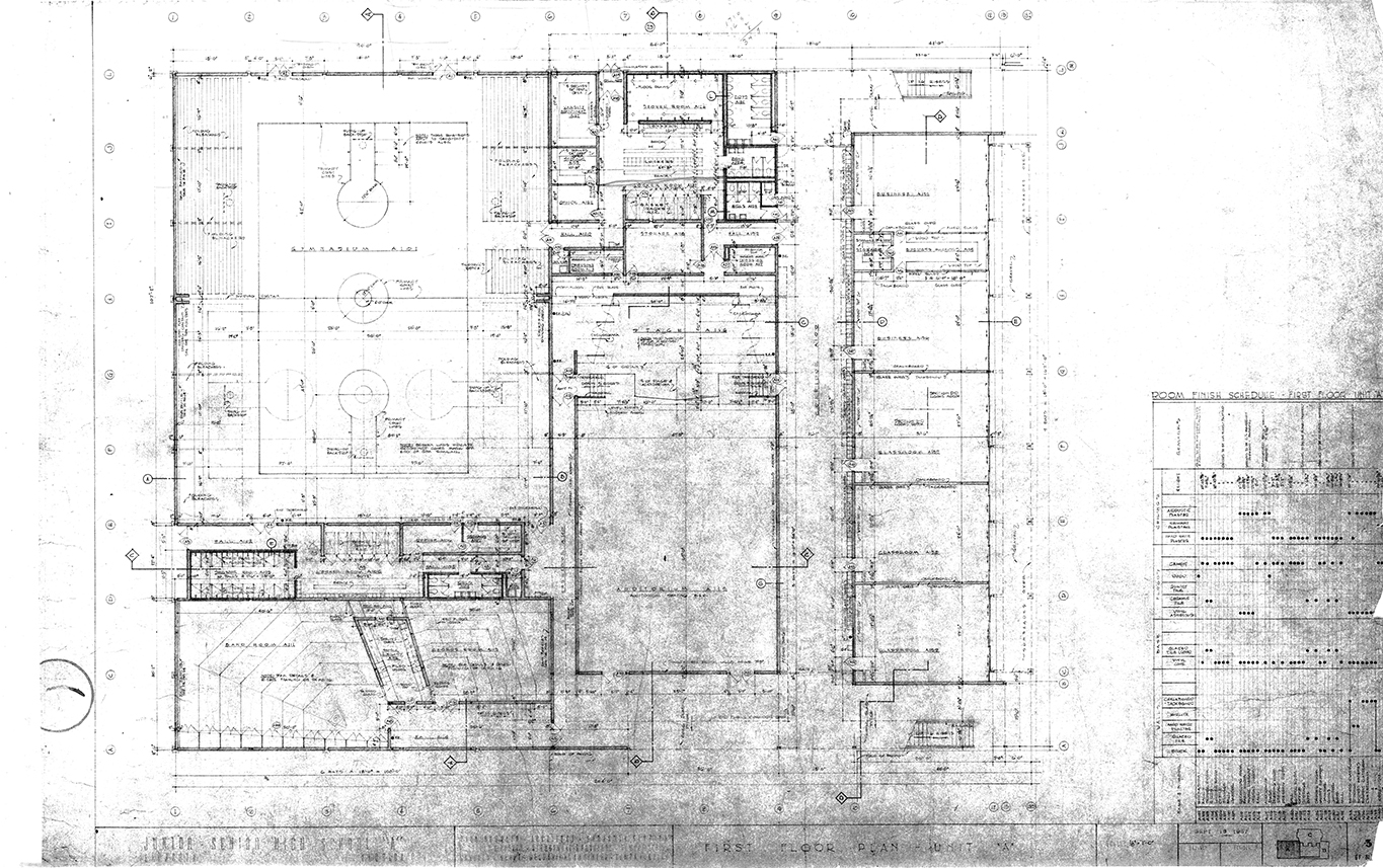 Riverview High School, Sarasota, Florida. First Floor Plan - Unit 'A'. Drawing dated September 18, 1957.