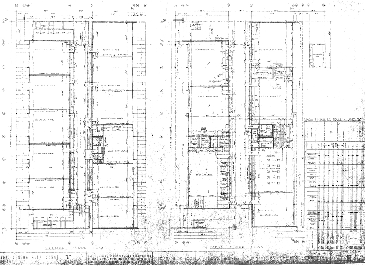 Riverview High School, Sarasota, Florida. First & Second Floor Plans - Unit 'B'. Drawing dated September 18, 1957.